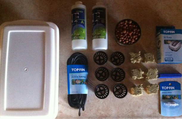 Materials needed to build your Hydroponics system.